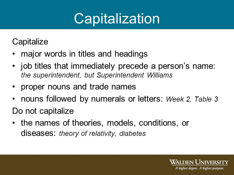 Capitalization Capitalize major words in titles and headings