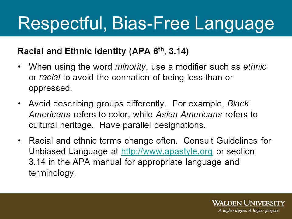 Respectful, Bias-Free Language