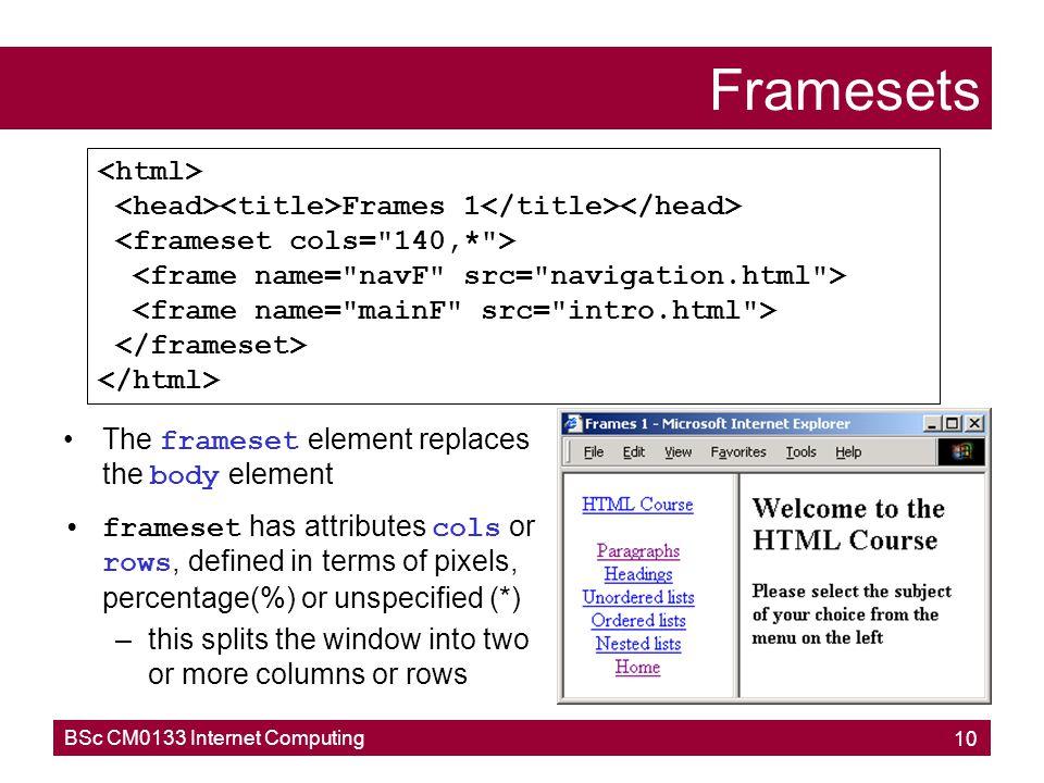 Framesets <html>