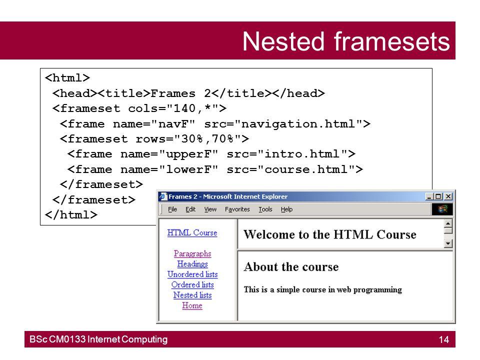 Nested framesets <html>