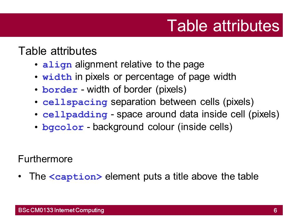 Table attributes Table attributes align alignment relative to the page