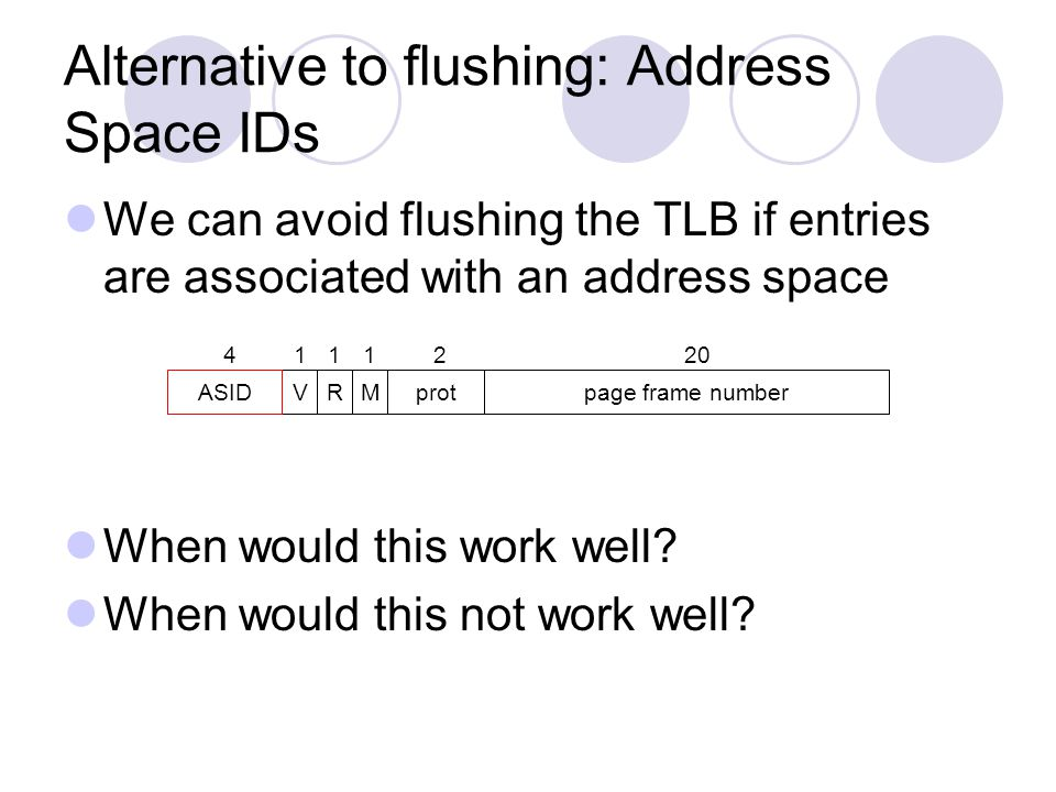 Alternative to flushing: Address Space IDs