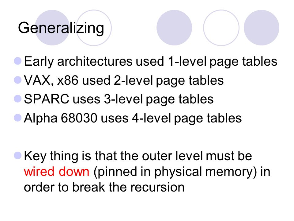Generalizing Early architectures used 1-level page tables