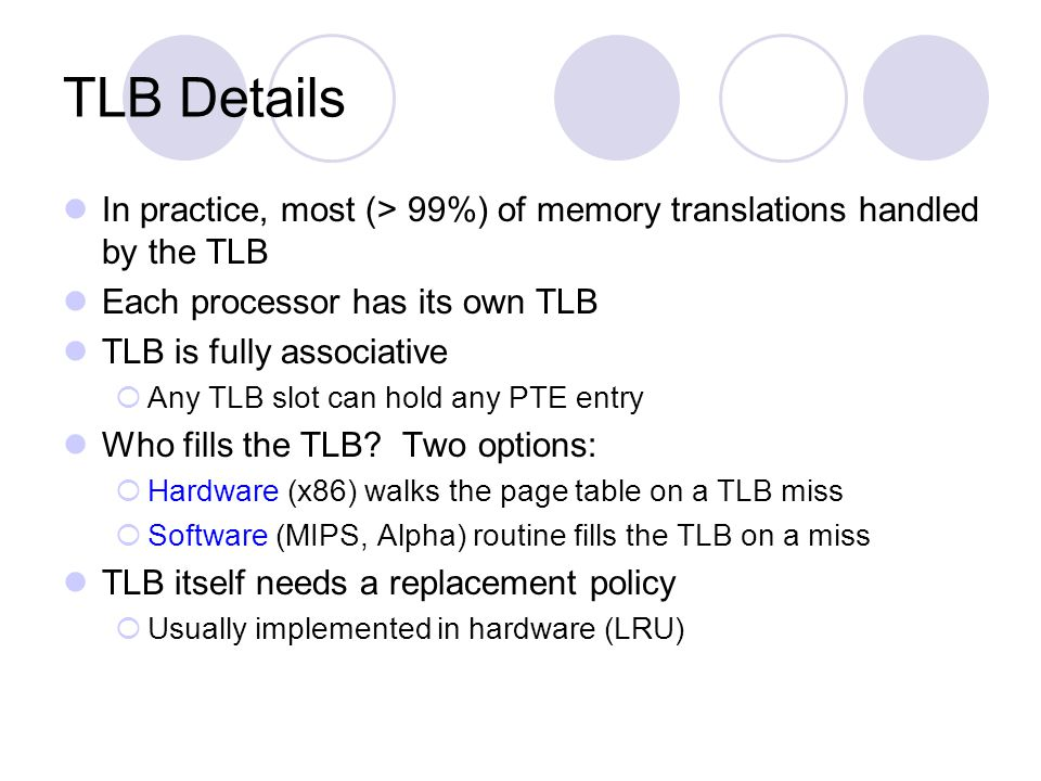 TLB Details In practice, most (> 99%) of memory translations handled by the TLB. Each processor has its own TLB.
