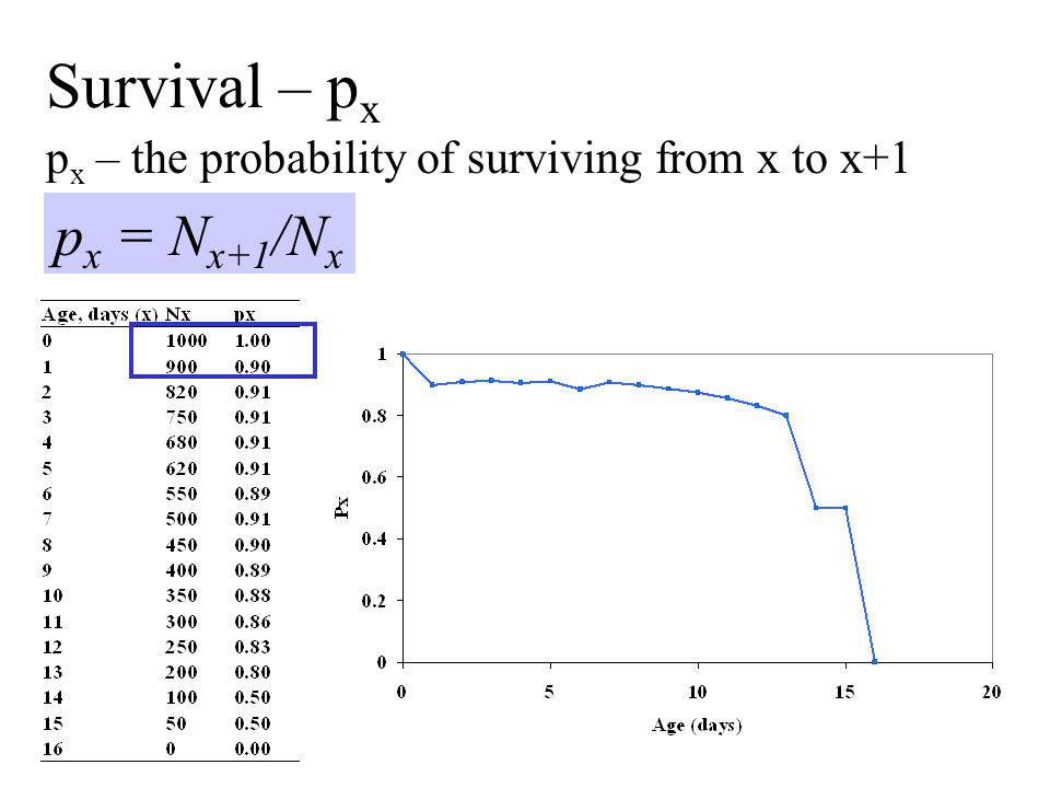px – the probability of surviving from x to x+1