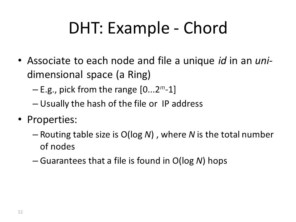 DHT: Example - Chord Associate to each node and file a unique id in an uni-dimensional space (a Ring)