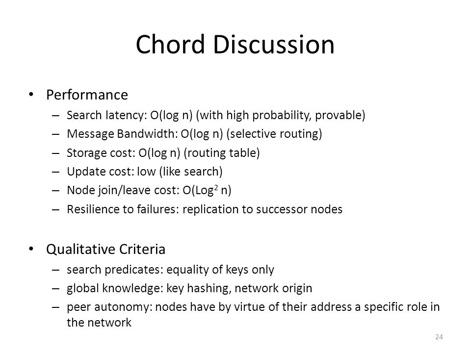 Chord Discussion Performance Qualitative Criteria