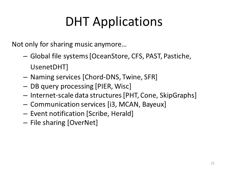 DHT Applications Not only for sharing music anymore…