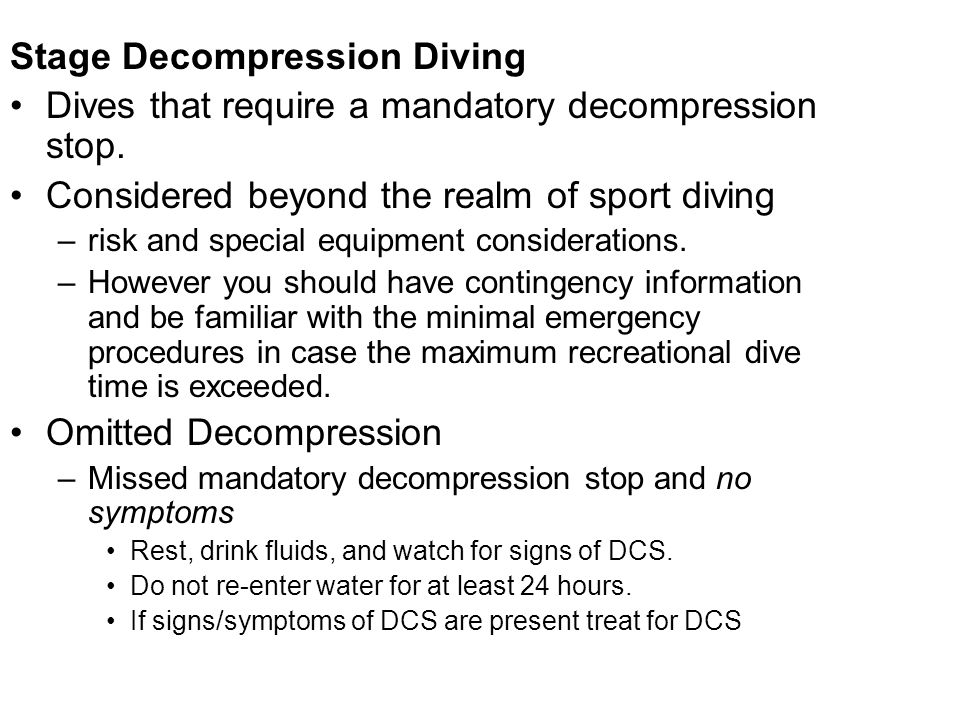 Stage Decompression Diving