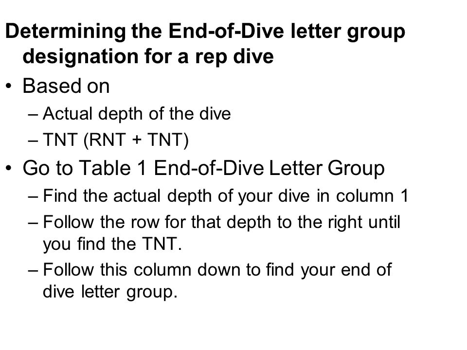 Determining the End-of-Dive letter group designation for a rep dive