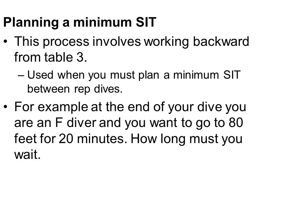 This process involves working backward from table 3.