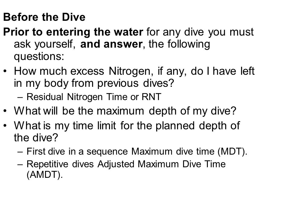 What will be the maximum depth of my dive