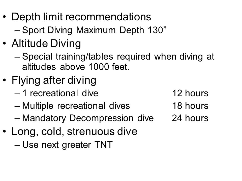 Depth limit recommendations Altitude Diving