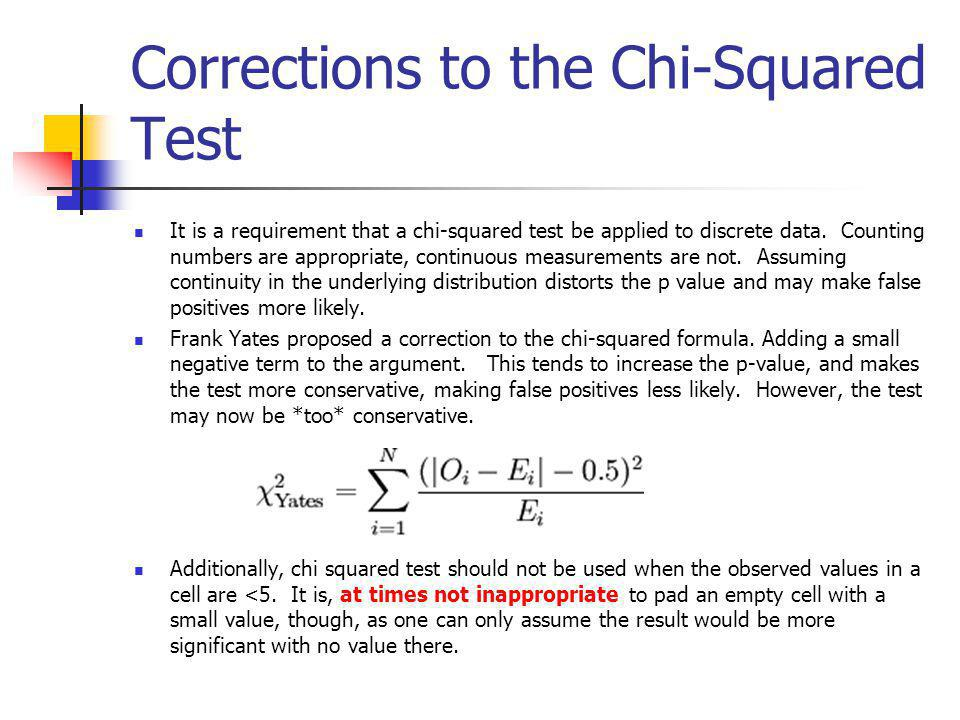 Corrections to the Chi-Squared Test