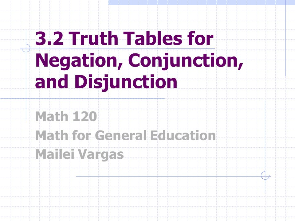 3.2 Truth Tables for Negation, Conjunction, and Disjunction