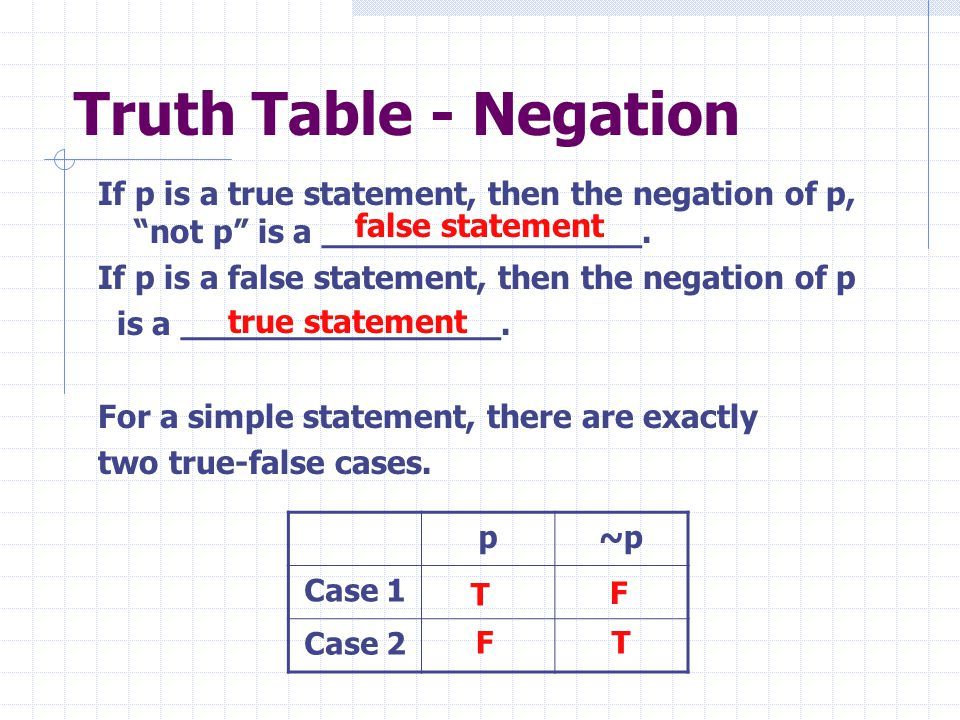 Truth Table - Negation If p is a true statement, then the negation of p, not p is a ________________.