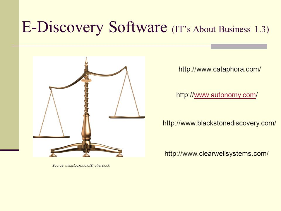 E-Discovery Software (IT's About Business 1.3)