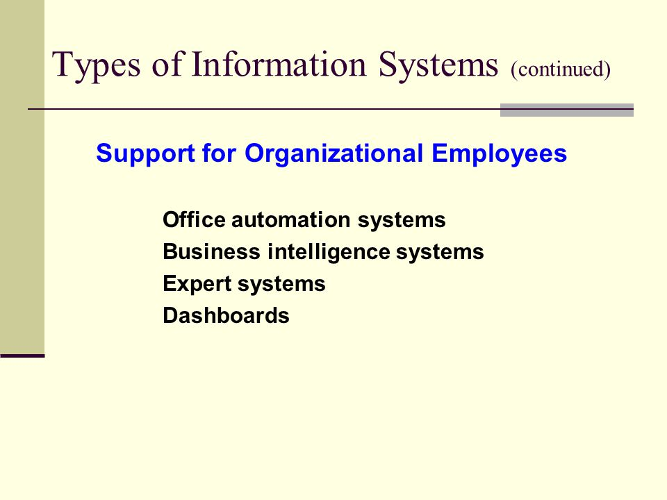 Types of Information Systems (continued)