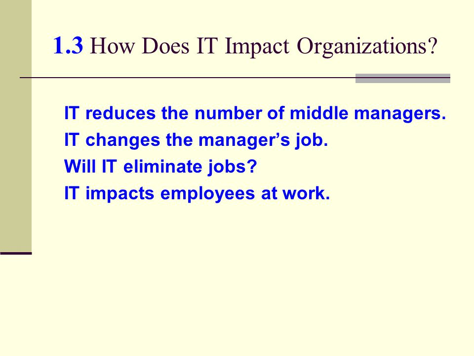 1.3 How Does IT Impact Organizations