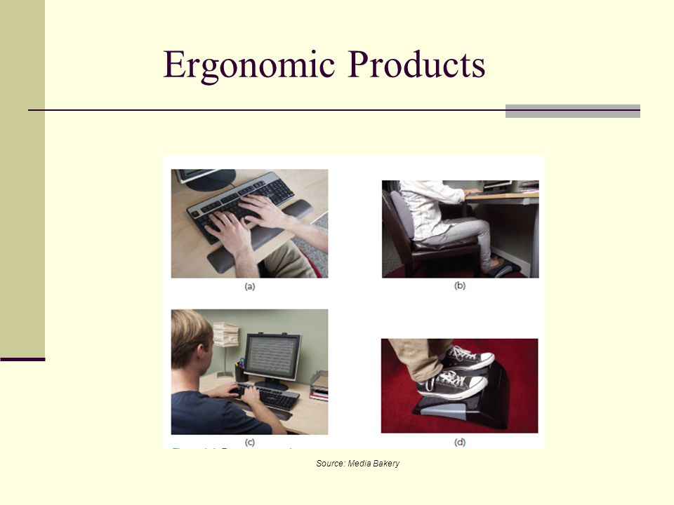 Ergonomic Products Wrist support Back support Eye-protection filter