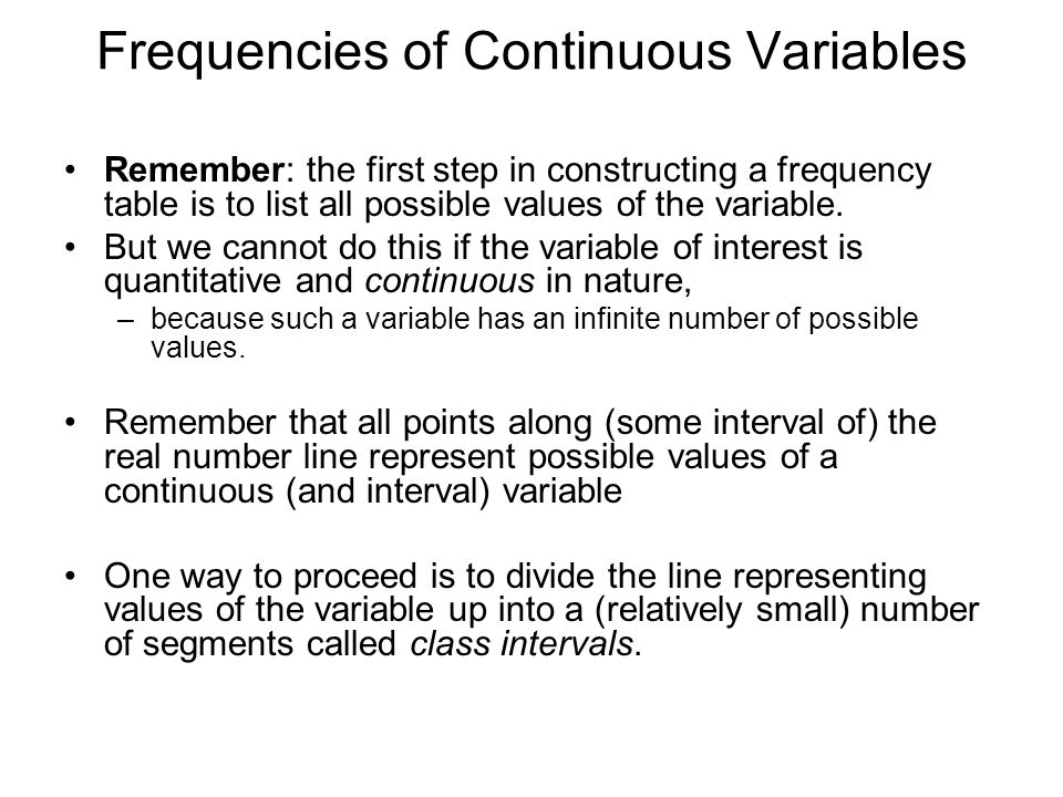 Frequencies of Continuous Variables