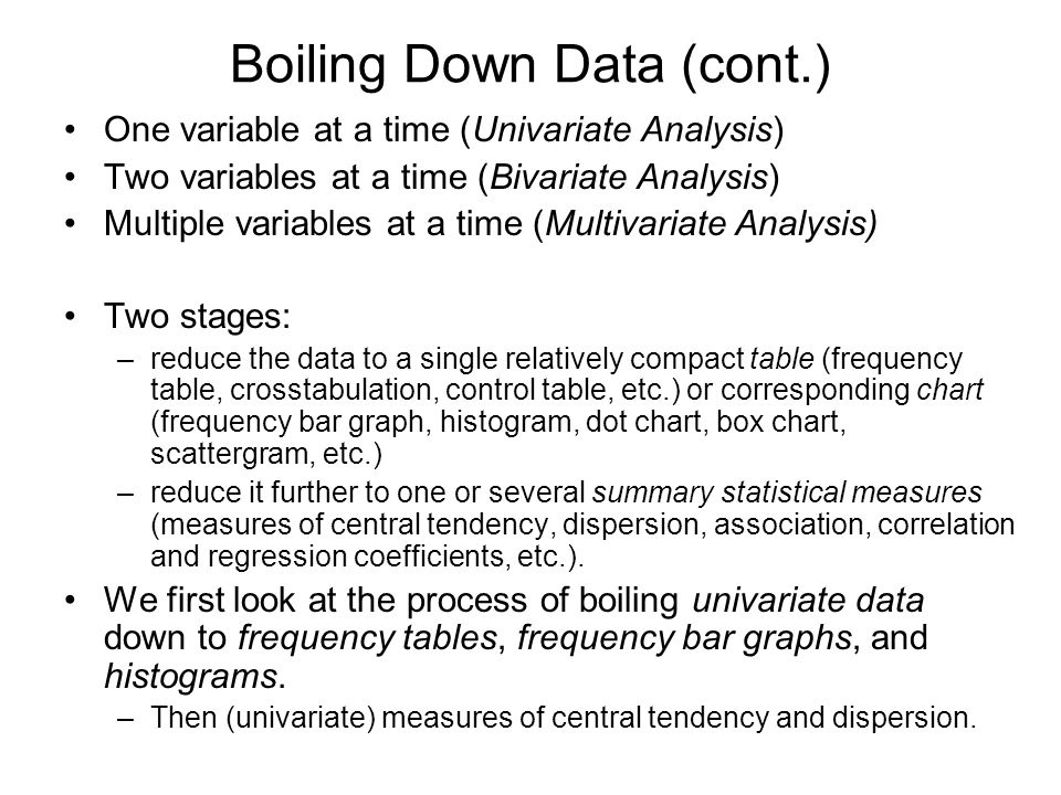 Boiling Down Data (cont.)