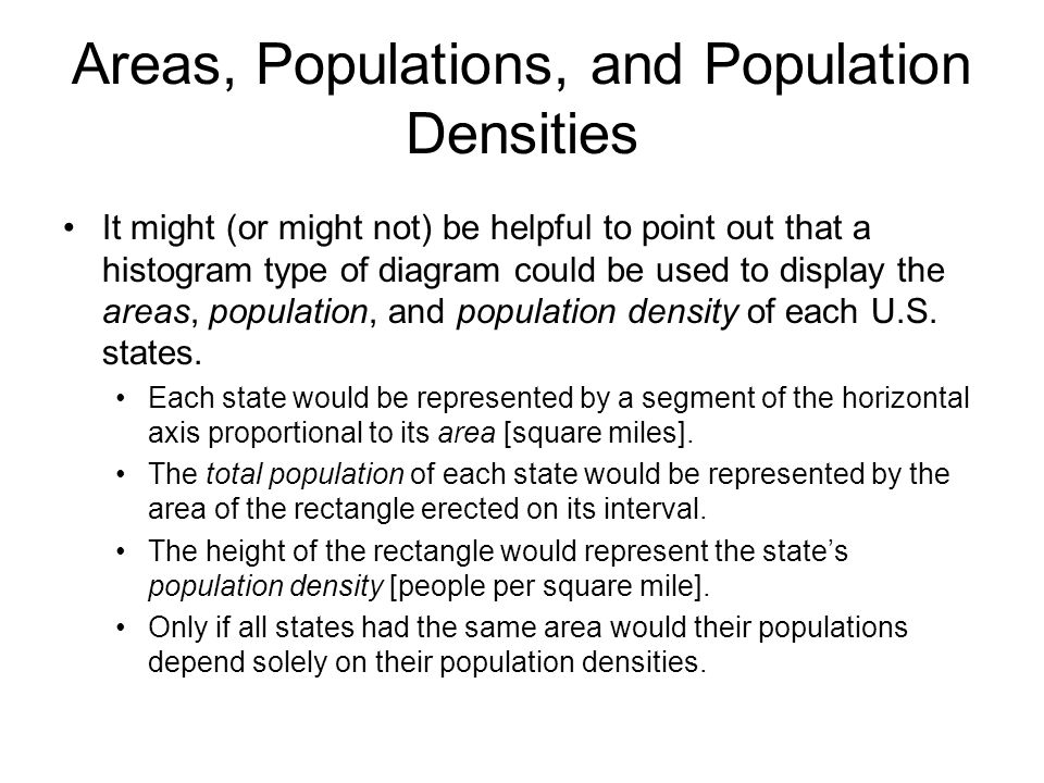 Areas, Populations, and Population Densities