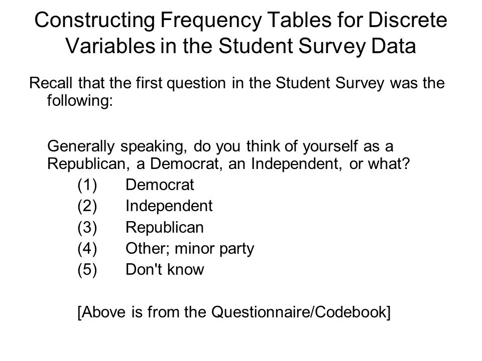Constructing Frequency Tables for Discrete Variables in the Student Survey Data