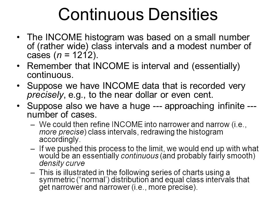 Continuous Densities The INCOME histogram was based on a small number of (rather wide) class intervals and a modest number of cases (n = 1212).