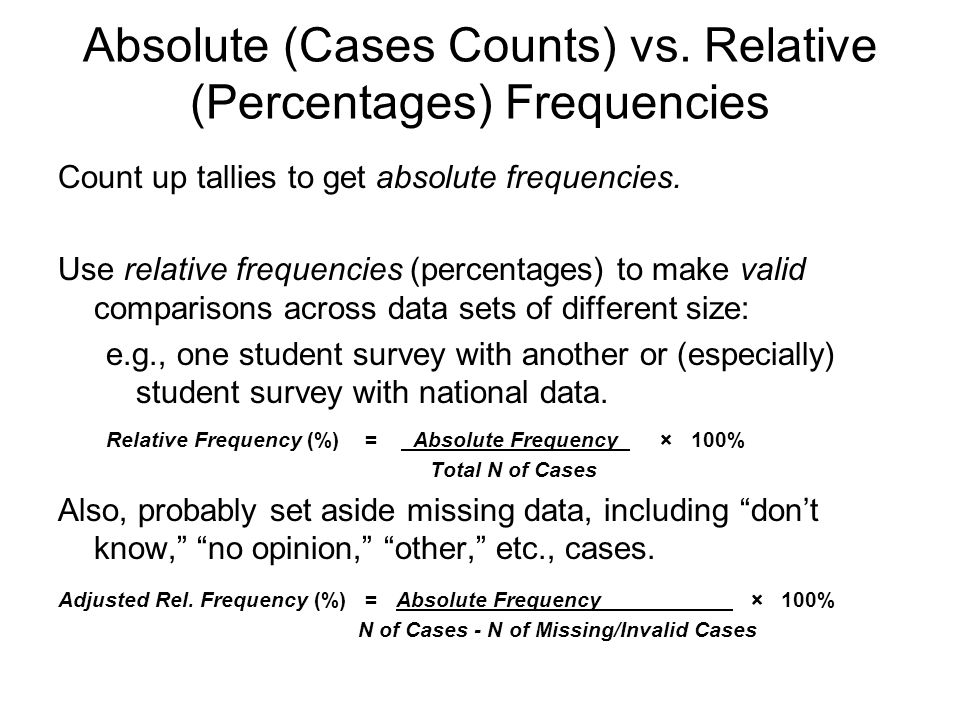 Absolute (Cases Counts) vs. Relative (Percentages) Frequencies
