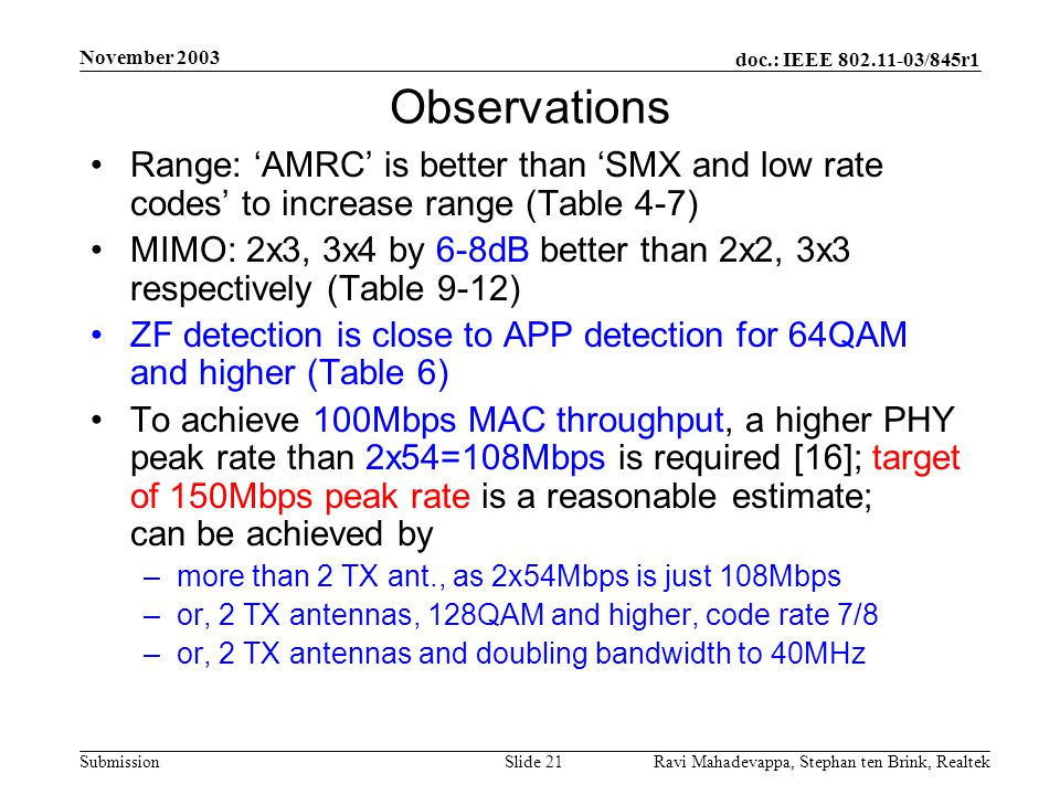 November 2003 Observations. Range: 'AMRC' is better than 'SMX and low rate codes' to increase range (Table 4-7)