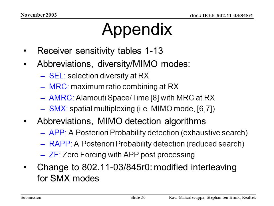Appendix Receiver sensitivity tables 1-13