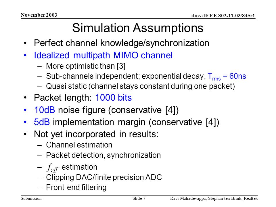 Simulation Assumptions