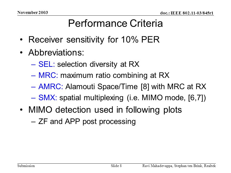 Performance Criteria Receiver sensitivity for 10% PER Abbreviations: