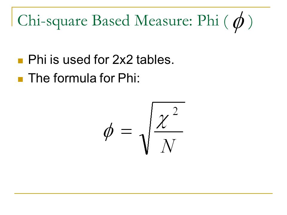 Chi-square Based Measure: Phi ( )