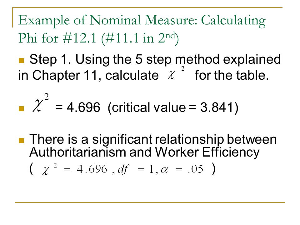 Example of Nominal Measure: Calculating Phi for #12.1 (#11.1 in 2nd)