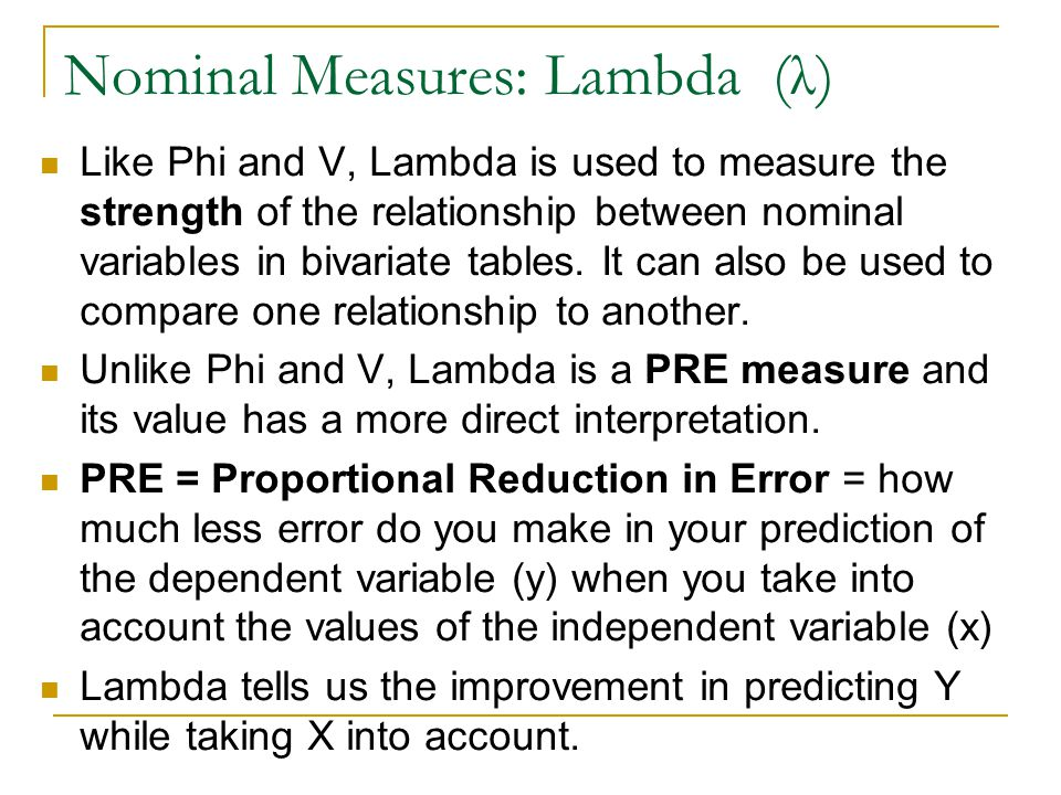 Nominal Measures: Lambda (λ)