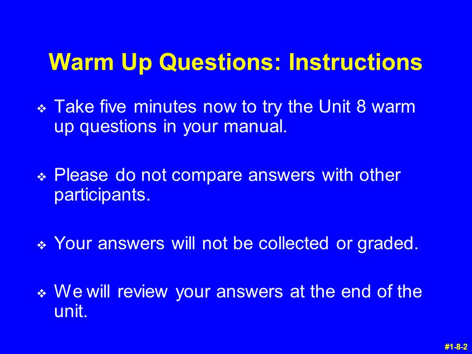 Warm Up Questions: Instructions