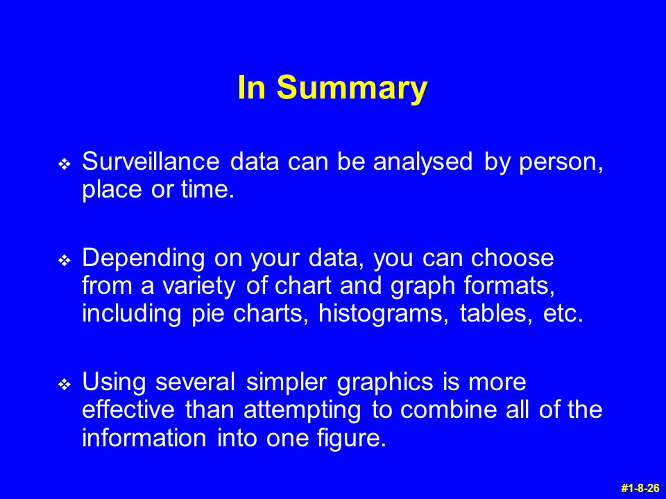 In Summary Surveillance data can be analysed by person, place or time.