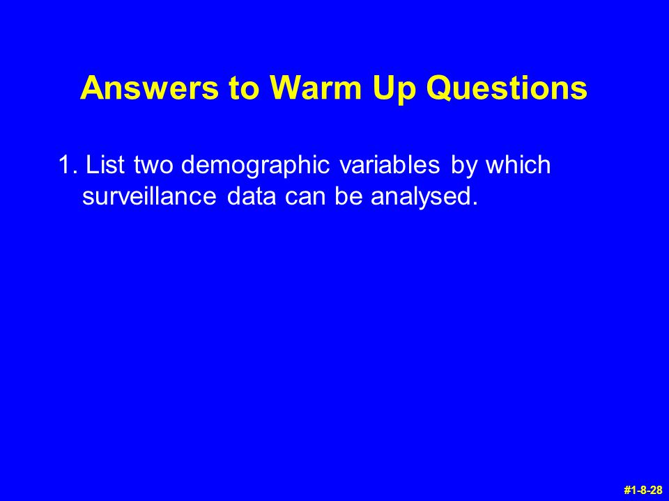 Answers to Warm Up Questions
