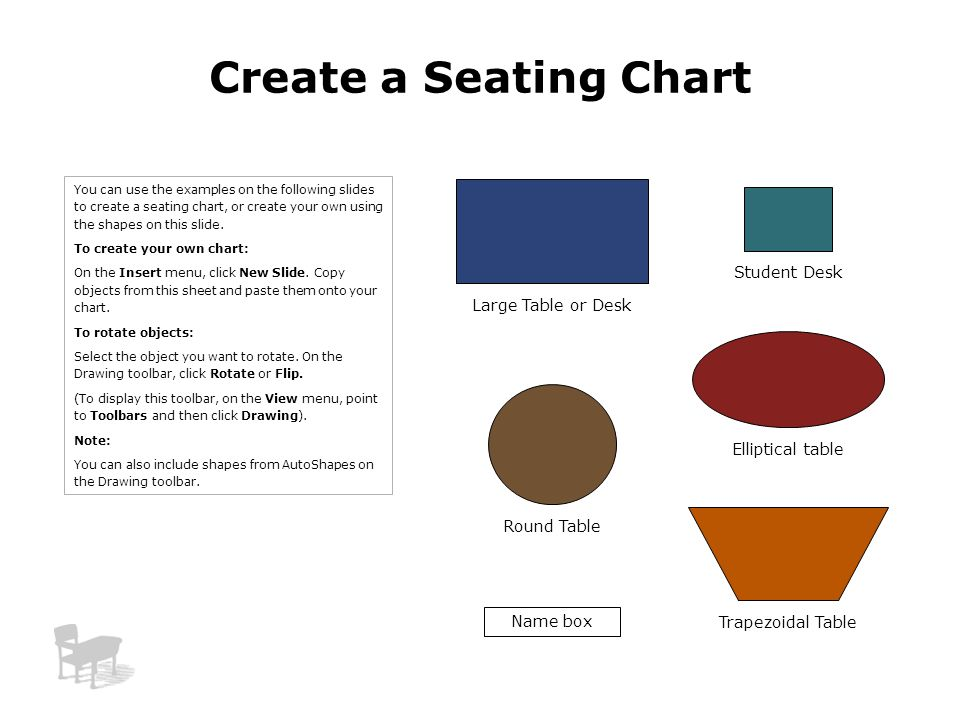 Create a Seating Chart Student Desk Large Table or Desk
