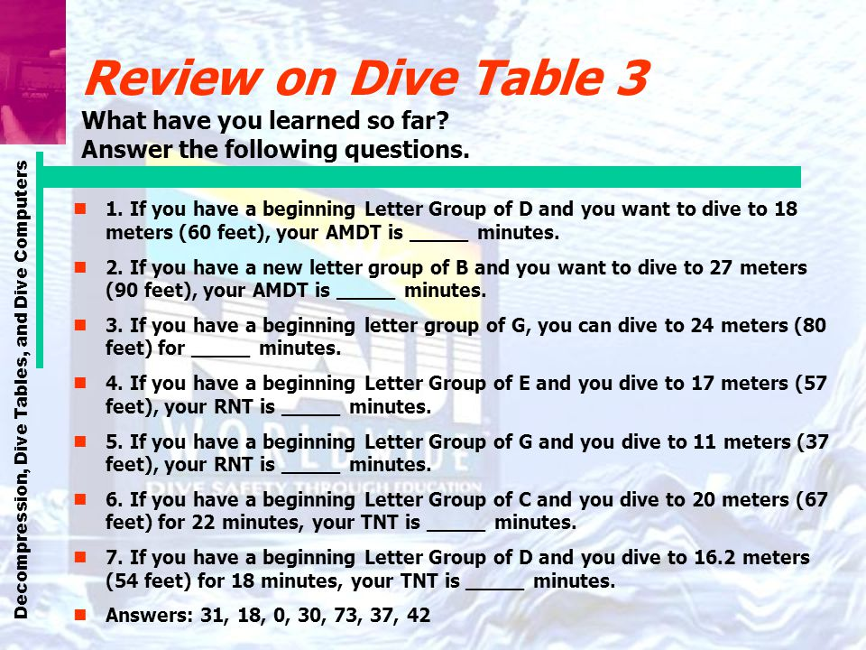 Review on Dive Table 3 What have you learned so far