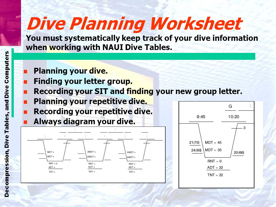 Dive Planning Worksheet You must systematically keep track of your dive information when working with NAUI Dive Tables.