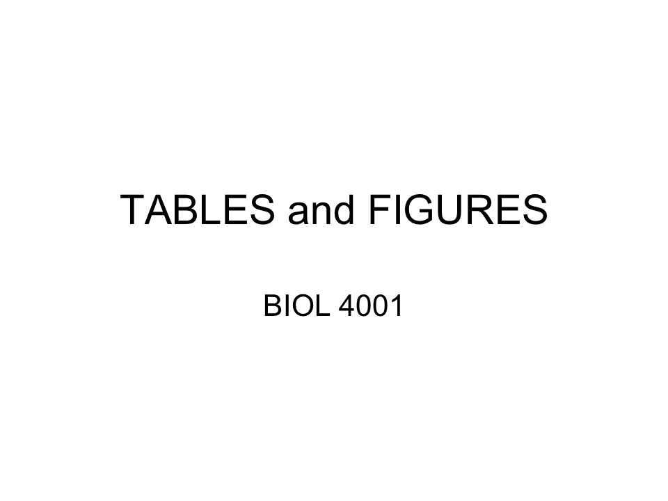 TABLES and FIGURES BIOL 4001