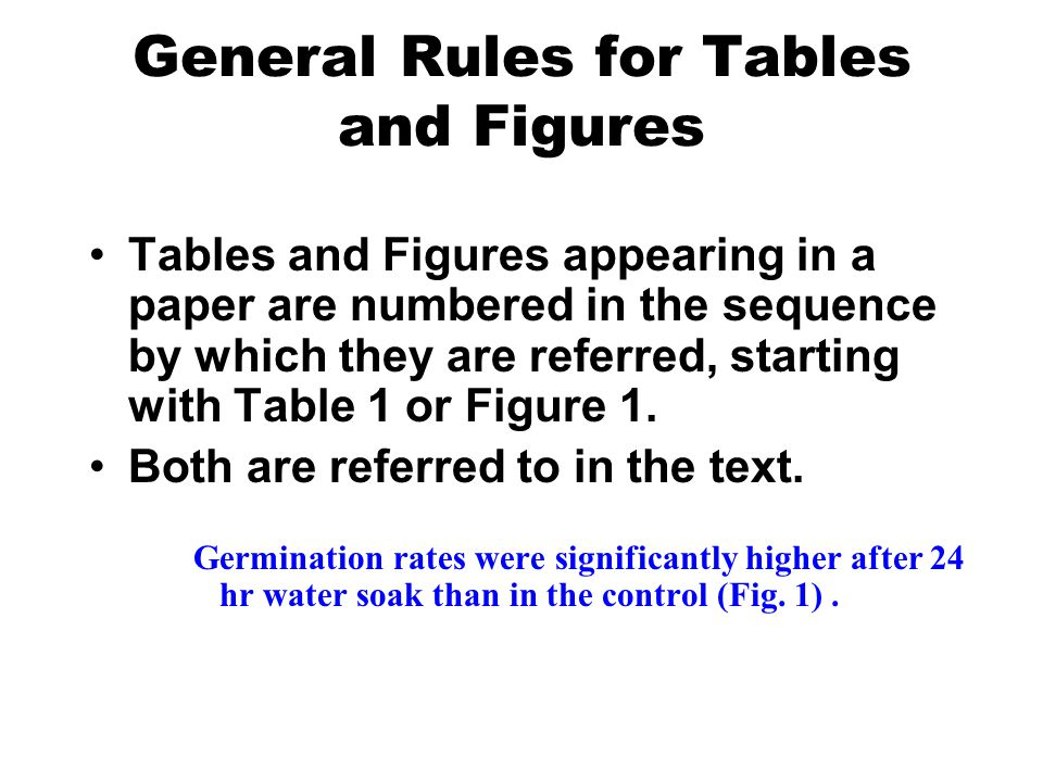General Rules for Tables and Figures