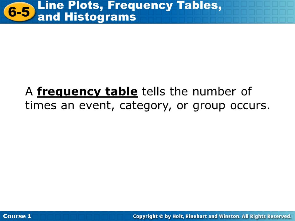 A frequency table tells the number of times an event, category, or group occurs.