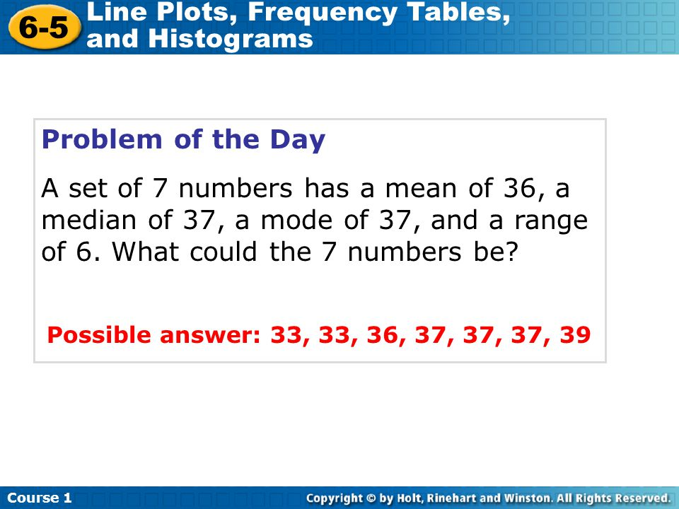 Problem of the Day A set of 7 numbers has a mean of 36, a median of 37, a mode of 37, and a range of 6. What could the 7 numbers be