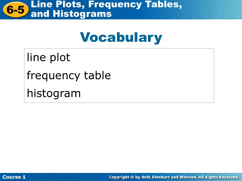 Vocabulary line plot frequency table histogram
