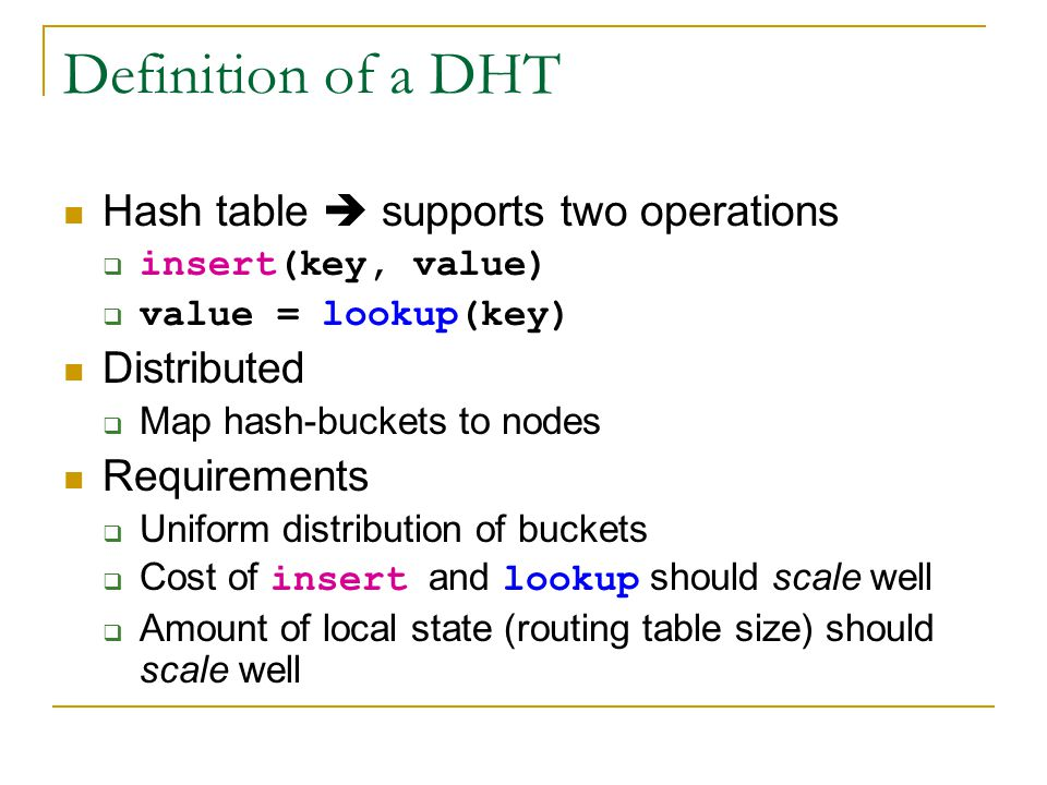 Definition of a DHT Hash table  supports two operations Distributed