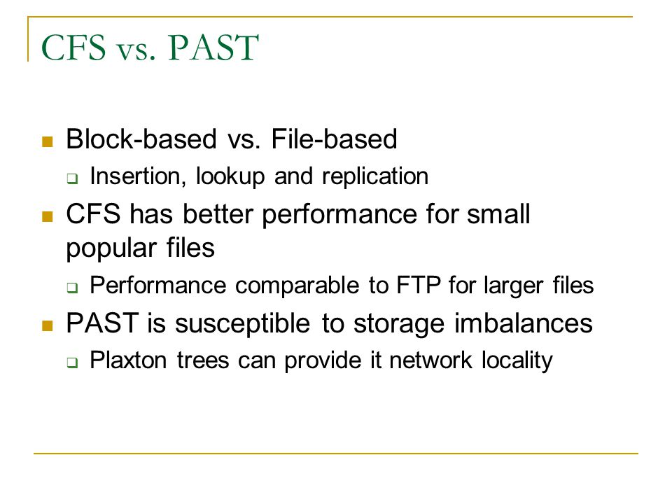 CFS vs. PAST Block-based vs. File-based